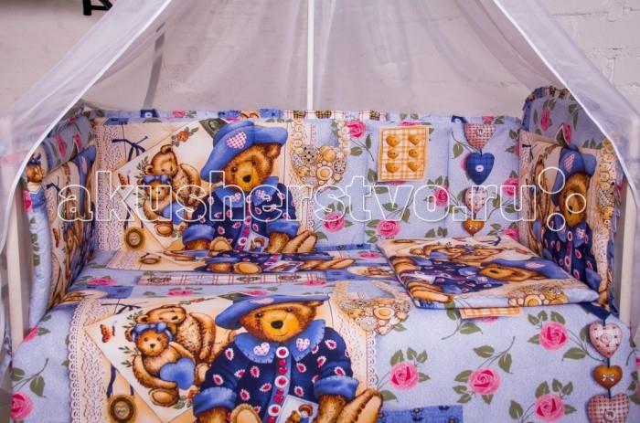 Бампер для кроватки Мой Ангелочек Мишка провансМишка провансБорт в кроватку Мишка прованс. Бампер в кроватку защитит малыша, пока он маленький. И послужит отличным украшением детской кроватки.  Состав: Борт 54х60 см - 1 ед; 40х60 см - 1 ед; 40х120 см - 2 ед   Характеристики: Ткань: бязь премиум ГОСТ российского производства Состав ткани: 100%  хлопок Плотность ткани: 148 гр/м2 Наполнитель: термофайбер Состав наполнителя: 100% п/э Плотность наполнителя: 550 гр/м2 Декоративные элементы: на бортах рюши Упаковка: сумка - чемодан<br>
