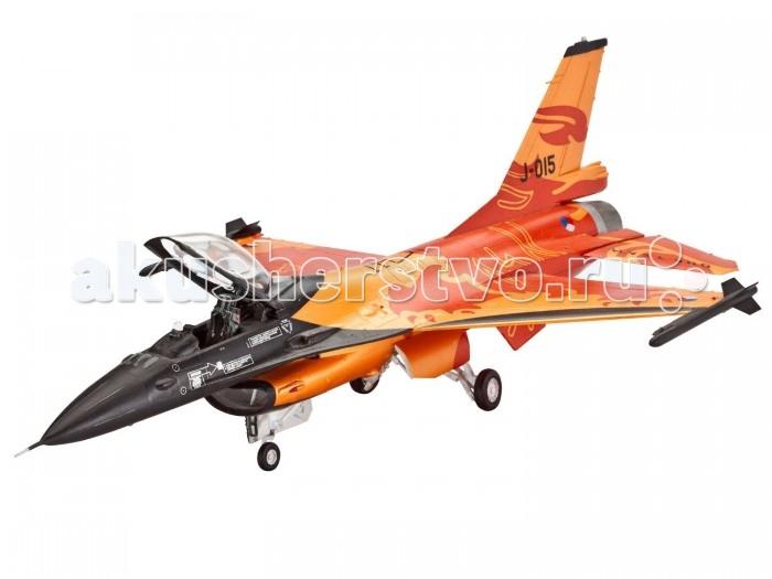 Конструктор Revell Набор Истребитель F-16 Mlu (98 деталей)Набор Истребитель F-16 Mlu (98 деталей)Голландский истребитель F-16 Mlu является одним из самых успешных боевых самолётов на сегодняшний день. В 2009 году военно-воздушные силы Нидерландов представили этот шикарный истребитель в очень привлекательном дизайне для сольных показов на авиа-шоу. Дизайн истребителя был разработан в соответствии с традиционным цветом Нидерландов – оранжевым, а на корпусе F-16 Mlu красовался красные лев.   Превосходная сборная модель несравненного истребителя выполнена настолько аккуратно, со вниманием к каждой детали, что отличить небольшой макет в масштабе 1: 72 от оригинала просто невозможно. Крохотная фигурка пилота внутри тщательно детализированной кабины, исполненные в мельчайших подробностях кресла пилотов, опоры шасси, управляемы ракеты на борту, фактурная поверхность фюзеляжа – ничто не оставляет сомнений в сходстве с прототипом. Всего модель состоит из 98 отдельных деталей, которые необходимо собрать и склеить воедино при помощи специального клея в удобной упаковке, который прилагается в комплекте. Также в наборе есть краски с кисточкой и набор наклеек для создания уникального дизайна голландского истребителя. Длина готовой модели составляет 207 мм, а размах крыльев – 143 мм.   Разработанная для детей от 10 лет, сборная модель определённо обрадует любителей моделирования. Ведь моделирование относят к одному из наиболее полезных хобби, ведь оно отлично тренирует мелкую моторику, развивает такие навыки как усидчивость, аккуратность и внимательность. Кроме того, развивается пространственное мышление, логика и креативность.  Основные характеристики:   Размеры собранной модели: 20.7 x 14.3 x 7.6 см Масштаб: 1:72. Количество деталей: 98 шт.<br>