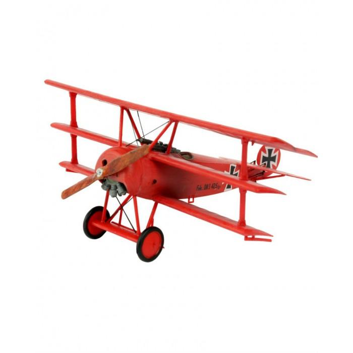 """Конструктор Revell Набор самолета Model Set Fokker DR.0Набор самолета Model Set Fokker DR.0Подарочный набор немецкого триплана Fokker DR.1. Применялся ВВС Германии во время Первой мировой войны. Из-за множества проблем при эксплуатации использовался крайне редко. Пилотирую Fokker DR.1 погиб самый результативный пилот Первой мировой Манфред фон Рихтгофен, известный как """"Красный барон"""" Помимо деталей для сбора модели в комплект входят кисточка, клей и базовые краски  Основные характеристики:   Длина модели: 8.1 см  Размах крыльев: 10.1 см Масштаб: 1:72  Количество деталей: 37 шт.<br>"""