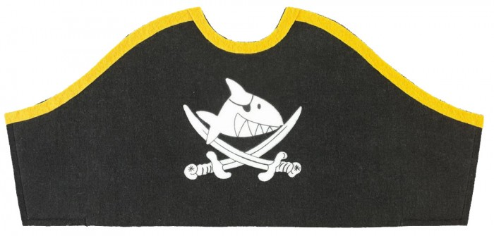 Spiegelburg Треуголка пирата Captn Sharky 25029Треуголка пирата Captn Sharky 25029Spiegelburg Треуголка пирата Captn Sharky 25029  незаменимый аксессуар для детских праздников и веселых игр в пиратов.  Какой же пират без своей шляпы отправится на поиски сокровищ? Настоящая треуголка пирата выполнена из войлока черного и желтого цветов.  Компания гарантирует высочайшее качество продукции и соответствие европейским стандартам.<br>