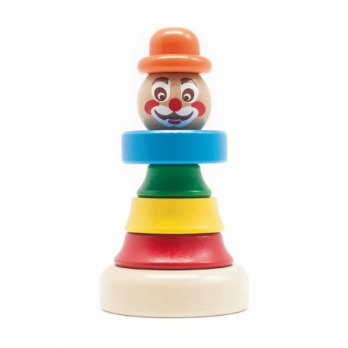 Деревянная игрушка Бомик Клоун пирамидка 1Клоун пирамидка 1Бомик Клоун пирамидка 1 813  Деревянная пирамидка Клоун может стать хорошей игрушкой для детей от трех лет. Раскрашенные в яркие цвета детали привлекают внимание, и ребенок обязательно заинтересуется такой симпатичной игрушкой. На основании пирамидки закреплен штырек, на который нанизываются все остальные детали. Чтобы собрать пирамидку воедино, нужно поставить друг на друга три элемента туловища, синий воротник, голову и, наконец, шляпу. В собранном виде эта простая, но интересная и красочная игрушка может украсить детскую комнату.  Диаметр основания: 7 см. Высота штырька: 10 см. Диаметр самой большой детали (красной): 4.3 см. Диаметр самой маленькой детали (зеленой): 2.5 см.<br>
