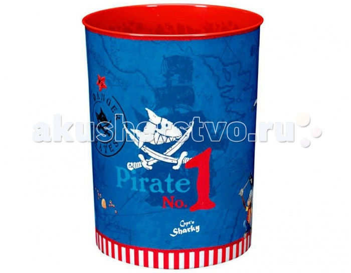 Spiegelburg Корзина для бумаг Captn Sharky 10766Корзина для бумаг Captn Sharky 10766Spiegelburg Корзина для бумаг Captn Sharky 10766. Перед вами красивая корзина для бумаг, которая понравится мальчику, увлекающемуся миром пиратов.  Корзина сделана из прочного, но легкого металла. Снаружи она раскрашена голубым цветом с рисунками кораблей, акул среди сабель, а также силуэтов древних карт. Внутри корзина окрашена красным цветом.  Корзина для бумаг станет прекрасной частью интерьера детской комнаты, ведь она не только функциональная, но и стильная. Мальчик будет бросать в нее использованную бумагу. Диаметр корзины для бумаг 21 см. При необходимости ее можно помыть.<br>