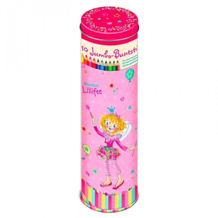Spiegelburg Набор цветных карандашей Prinzessin Lilifee 11362Набор цветных карандашей Prinzessin Lilifee 11362Spiegelburg Набор цветных карандашей Prinzessin Lilifee 11362. С самого раннего возраста маленькие девочки любят рисовать, а значит, им нужны качественные цветные карандаши.  Набор включает в себя 10 карандашей разных цветов. Они помещены в металлический футляр в форме цилиндра. Карандаши сделаны из высококачественного гипоаллергенного материала, совершенно безопасного для детишек.  Когда девочка будет рисовать этими карандашами, изображения будут получаться сочными и яркими, на них будет приятно смотреть. При этом девочка будет развивать свои творческие способности и мелкую моторику рук.<br>