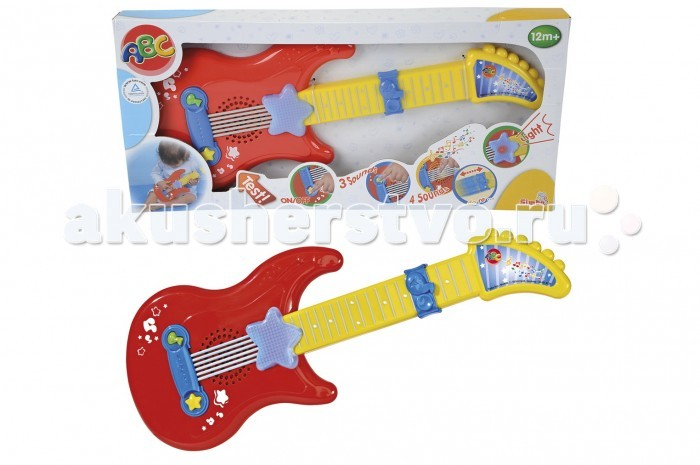 Музыкальная игрушка Simba Гитара на батарейкахГитара на батарейкахИгрушка Simba Гитара на батарейках понравится ребёнку, который любит играть с музыкальными инструментами.  Играя на этой гитаре, ребёнок сможет развить звуковое и цветовое восприятие, ассоциативное мышление, воображение, а также мелкую моторику, координацию движения рук, артистизм и чувство ритма. А благодаря меняющимся игровым режимам ребёнок сможет научиться считать в песенной форме от 1 до 5, а если прокрутить барабан, то ребёнок изучит животных, прослушав весёлые стишки про них. При нажатии на гитарные клавиши можно изучить звуки разных музыкальных инструментов.<br>