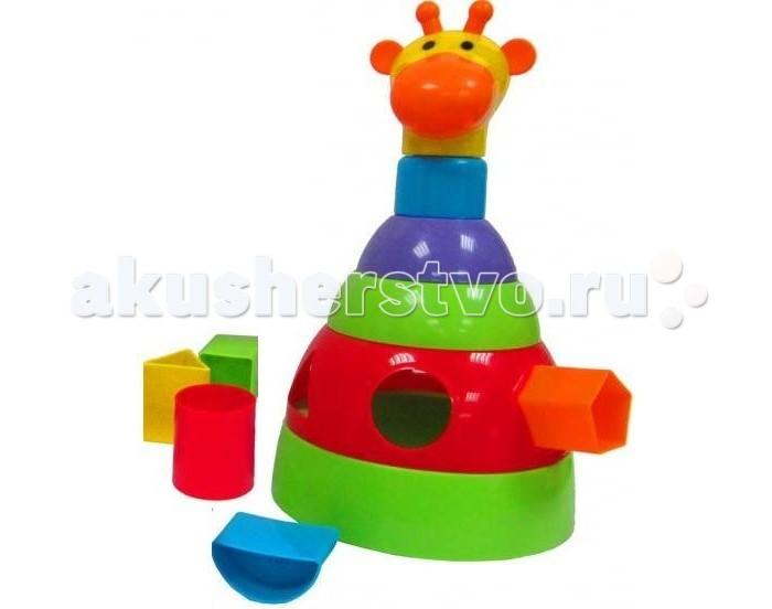 Развивающая игрушка Simba Пирамидка ЖирафПирамидка ЖирафИгрушка Simba Пирамидка Жираф может использоваться как пирамидка состоит из 6-ти частей, сортер - 5 деталей и как неваляшка, можно раскачивать то вправо, то влево.<br>