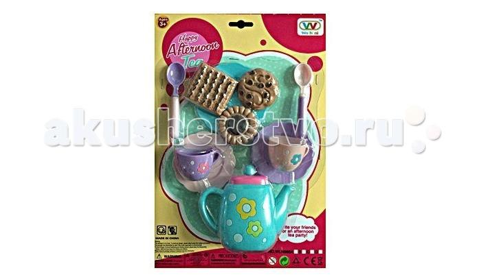 Shantou Gepai Набор посуды Чаепитие WLN686-DНабор посуды Чаепитие WLN686-DНабор посудки Чаепитие - отличный выбор для юной хозяюшки. Теперь можно устраивать игрушечные чаепития, разливая ароматный чай по чашкам и угощая кукол печеньем! Игрушка предназначена для сюжетно-ролевых игр. Поможет ребенку познакомиться с навыками сервировки стола.  Комплектность: чайник, ложки - 2 шт., чашки - 2 шт., блюдца - 2 шт., пирожные - 3 шт.<br>