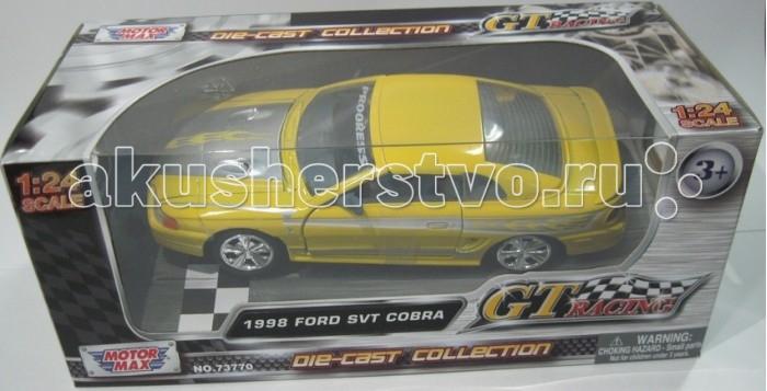 MotorMax Модель автомобиля Ford SVT Cobra 1998 (Масштаб 1:24)Модель автомобиля Ford SVT Cobra 1998 (Масштаб 1:24)Машинка придется по вкусу как ребенку, так и взрослому коллекционеру масштабных моделей. Лицензионная уменьшенная копия настоящего автомобиля марки Ford SVT Cobra 1998 имеет хорошую детализацию для своих размеров, а также приятный дизайн.  Основные характеристики:   Размер упаковки: 27 x 12 x 11 см Масштаб: 1:24 Вес: 0,5 кг<br>