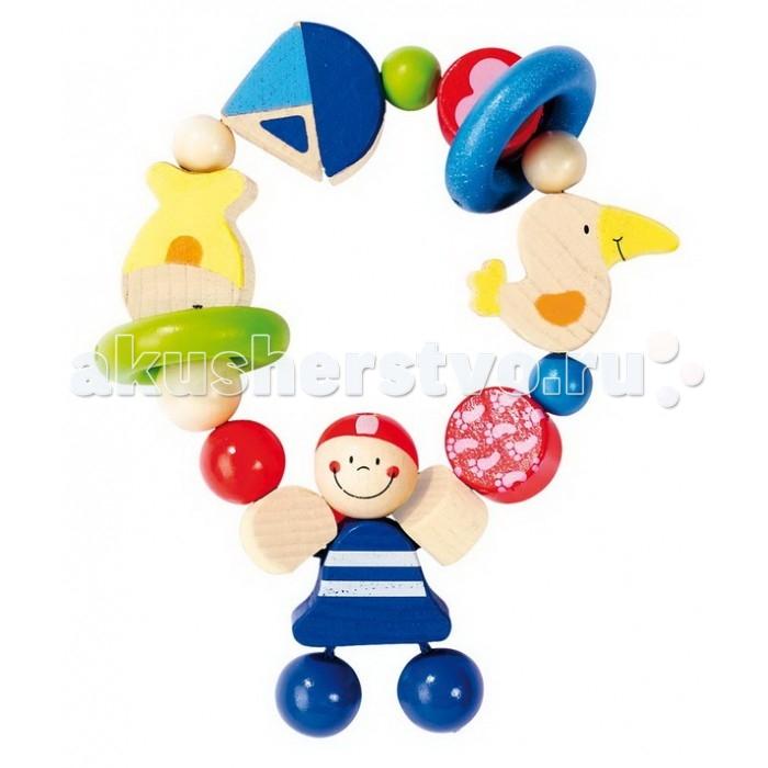 Деревянная игрушка Heimess Кольцо эластик ПиратКольцо эластик ПиратДеревянная игрушка Heimess Кольцо эластик Пират   Пират, рыбки, кораблик, рыбка, тропическая птица и шарики набраны на эластичную резинку и дополнены двумя колечками.   Абсолютно безопасные очень стойкие краски на водной основе.  Размеры: 11 см<br>