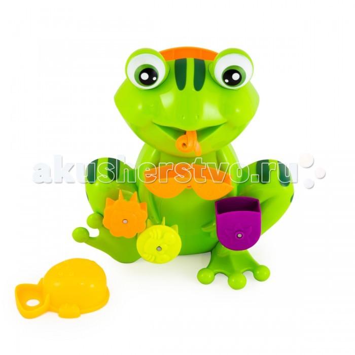 Pic`n Mix Игрушка для ванны ЛягушкаИгрушка для ванны ЛягушкаPic`n Mix Игрушка для ванны Лягушка. Интерактивная механическая игрушка не требует батареек.  В наборе 2 предмета: лягушка и черпачок-рыбка. Фигурка лягушки легко крепится на стенку ванны при помощи присосок. Вода наливается в игрушку при помощи черпачка и приводит в действие подвижные элементы.   Игрушка учит пониманию причинно-следственной связи, помогает тренировке координацию движений и восприятию формы и цвета.<br>