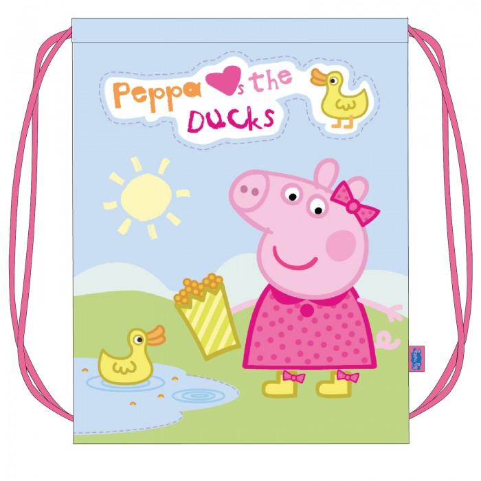 Peppa Pig Мешок для обуви УткаМешок для обуви УткаPeppa Pig Мешок для обуви Утка станет удобным помощником в школьной и спортивной жизни малышки, а любимая героиня будет долго радовать ее.   Особенности: Мешок подходит для обуви любого размера и затягивается шнурками, дополнительно выполняющими функцию лямок.  Аксессуар изготовлен из износостойкой ткани, имеет длительный срок службы и декорирован красочным принтом.   Размер: 46х34 см.<br>