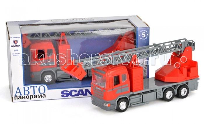 Автопанорама Инерционная машина Scania Пожарная 1:40Инерционная машина Scania Пожарная 1:40Модель Автопанорама Scania Пожарная  выглядит идентично настоящей технике, функционален и создан в масштабе 1:40. Игрушка позволит мальчику устроить реалистичную игру и спасать от пожара. Двери водительской кабины открываются, есть свет фар и звук мотора. Платформа поворачивается на 360 градусов, а лестница выдвигается. Кроме того, игрушка оснащена инерционным механизмом, работающим по всем известному принципу – прижать к полу, откатить назад, отпустить.   Увлекательная игра в машинку не только развлекает ребёнка, но и вырабатывает такие практические качества, как ловкость и слаженность движений рук, сноровку и координацию, развивает мелкую моторику пальцев рук, заставляет подвигаться и пофантазировать.  Возраст: от 3 лет  Размер: 28 х 14 х 12 см<br>