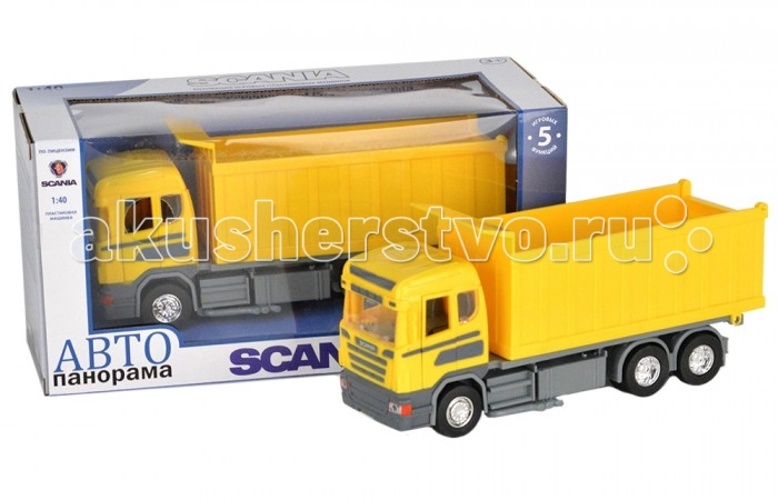 Автопанорама Инерционная машина Scania Самосвал 1:40Инерционная машина Scania Самосвал 1:40Модель Автопанорама Scania Самосвал  выглядит идентично настоящей технике, функционален и создан в масштабе 1:40. Игрушка позволит мальчику устроить реалистичную игру и спасать от пожара. Двери водительской кабины открываются, есть свет фар и звук мотора. Платформа поворачивается на 360 градусов, а лестница выдвигается. Кроме того, игрушка оснащена инерционным механизмом, работающим по всем известному принципу – прижать к полу, откатить назад, отпустить.   Увлекательная игра в машинку не только развлекает ребёнка, но и вырабатывает такие практические качества, как ловкость и слаженность движений рук, сноровку и координацию, развивает мелкую моторику пальцев рук, заставляет подвигаться и пофантазировать.  Возраст: от 3 лет  Размер: 28 х 14 х 12 см<br>
