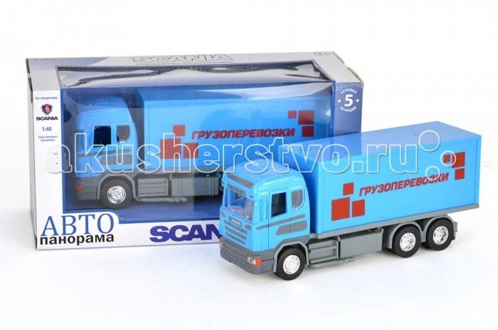 Автопанорама Инерционная машина Scania Грузоперевозки 1:40Инерционная машина Scania Грузоперевозки 1:40Модель Автопанорама Scania Грузоперевозки  выглядит идентично настоящей технике, функционален и создан в масштабе 1:40. Игрушка позволит мальчику устроить реалистичную игру и спасать от пожара. Двери водительской кабины открываются, есть свет фар и звук мотора. Платформа поворачивается на 360 градусов, а лестница выдвигается. Кроме того, игрушка оснащена инерционным механизмом, работающим по всем известному принципу – прижать к полу, откатить назад, отпустить.   Увлекательная игра в машинку не только развлекает ребёнка, но и вырабатывает такие практические качества, как ловкость и слаженность движений рук, сноровку и координацию, развивает мелкую моторику пальцев рук, заставляет подвигаться и пофантазировать.  Возраст: от 3 лет  Размер: 28 х 14 х 12 см<br>