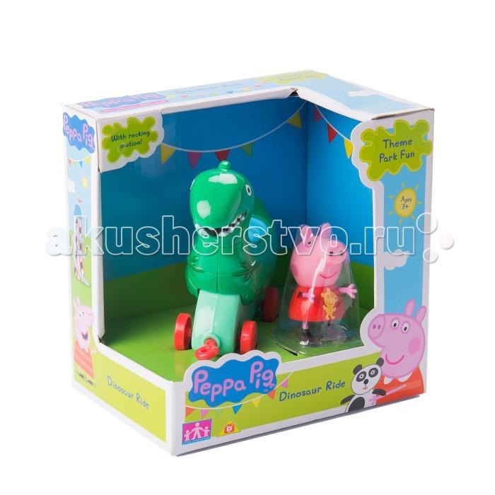 Каталка-игрушка Peppa Pig Динозавр с фигуркамиДинозавр с фигуркамиКаталка-игрушка Peppa Pig Динозавр с фигуркой. Поклонники веселой Свинки Пеппы будут в восторге от игрового набора Каталка-динозавр. Привяжите веревочку к специальному держателю и посадите фигурку Пеппы на сидение, чтобы ваш малыш мог увлеченно возить каталку, развивая координацию движений.   А чтобы игра была интереснее, можно дополнительно приобрести каталки в виде уточки, лошадки и чашечки из серии Пеппа в луна-парке, которые совмещаются друг с другом, благодаря держателям.  В игровом наборе 2 предмета: каталка на колесиках в виде динозаврика размером 11х9,5х4 см, фигурка Свинки Пеппы высотой 5,5 см с подвижными ручками и ножками. При движении Динозаврик качается вперед и назад. На каталке можно покатать Пеппу или одного из ее друзей; спереди расположен держатель для веревочки (в комплект не входит).   Игрушки выполнены из высококачественного пластика. Товар сертифицирован и безопасен при использовании по назначению.<br>