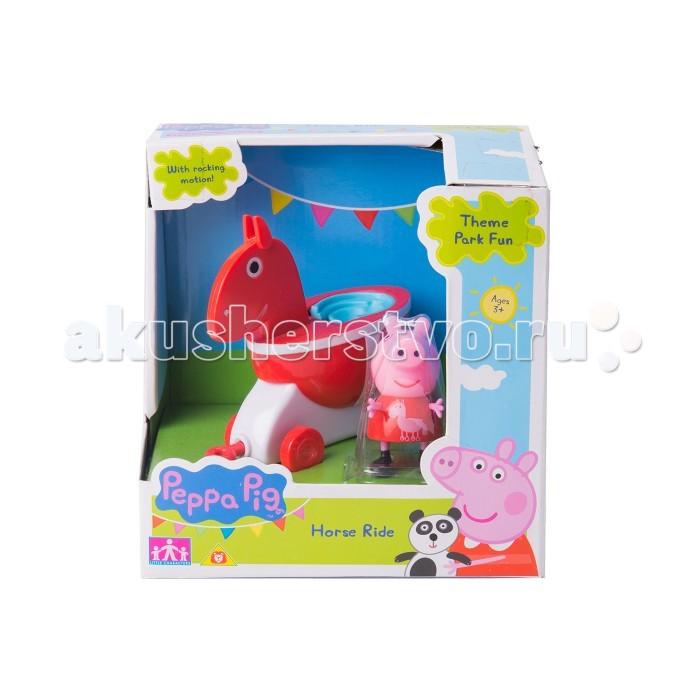 Каталка-игрушка Peppa Pig Лошадка с фигуркойЛошадка с фигуркойКаталка-игрушка Peppa Pig Лошадка с фигуркой. Поклонники веселой Свинки Пеппы будут в восторге от игрового набора Каталка-уточка. Привяжите веревочку к специальному держателю и посадите фигурку Пеппы на сидение, чтобы ваш малыш мог увлеченно возить каталку, развивая координацию движений. А чтобы игра была интереснее, можно дополнительно приобрести каталки в виде динозаврика, лошадки и чашечки из серии Пеппа в луна-парке, которые идеально совмещаются друг с другом, благодаря специальным держателям.  В игровом наборе 2 предмета: каталка на колесиках в виде уточки размером 11х9,5х5 см, фигурка Свинки Пеппы высотой 5,5 см с подвижными ручками и ножками. Уточка при движении качается вперед и назад, на ней можно покатать Пеппу или одного из ее друзей, спереди расположен держатель для веревочки (в комплект не входит).   Игрушки выполнены из высококачественного пластика. Товар сертифицирован и безопасен при использовании по назначению.<br>