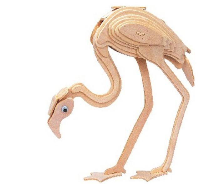 Конструктор МДИ ФламингоФламингоМДИ Фламинго Е024                       Деревянная модель из серии Животные представляет собой стилизованного фламинго с изогнутой шеей, склонившегося к земле. Все элементы 3D-пазла гладко отшлифованы и легко соединяются между собой. Готовая конструкция станет более прочной, если при сборке воспользоваться клеем. Стилизованное игрушечное животное украсит интерьер любой комнаты.<br>