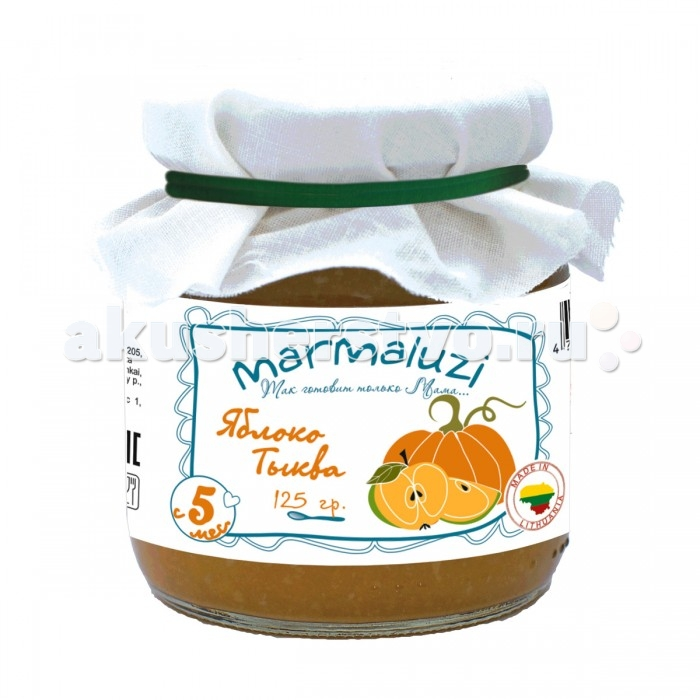 Marmaluzi Пюре яблочно-тыквенное с 5 мес. 125 гПюре яблочно-тыквенное с 5 мес. 125 гФрукто-овощное пюре от торговой марки Marmaluzi - идеальный выбор для родителей, заботящихся о здоровье своих малышей. Продукт изготовлен только из натуральных, экологически чистых ингредиентов. В его составе отсутствуют любые виды консервантов, красителей, ароматизаторов и улучшителей вкуса.   Нежная однородная консистенция и приятный вкус наверняка понравится любому ребёнку. Многокомпонентное пюре предназначено для детей от 5 месяцев. Все его компоненты отлично перевариваются детским организмом и положительно влияют на перистальтику кишечника.   Особенности: Изготавливается только из натуральных ингредиентов. Не содержит консервантов, красителей, ароматизаторов и глютена. Без добавления соли, сахара, крахмала. Удобная стеклянная банка. Пищевая ценность на 100 г продукта: углеводы - 10 г, калий - 104 мг. Энергетическая ценность на 100 г продукта: 42 ккал.  Состав: яблочное пюре - 80%, тыквенное пюре - 20%.<br>