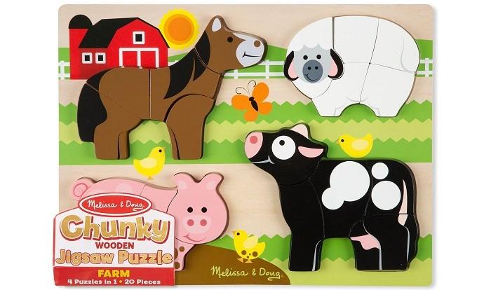 Melissa &amp; Doug Ферма Мои первые пазлыФерма Мои первые пазлыМои первые пазлы Ферма состоят из игрового поля и объемных фигурок 4 животных, обитающих на ферме - овечки, лошади, коровы и свинки.  Пазлы изготовлены из высококачественных, экологически чистых материалов.  Игра с ними способствует развитию мелкой моторики, пространственного мышления и творческих способностей.<br>