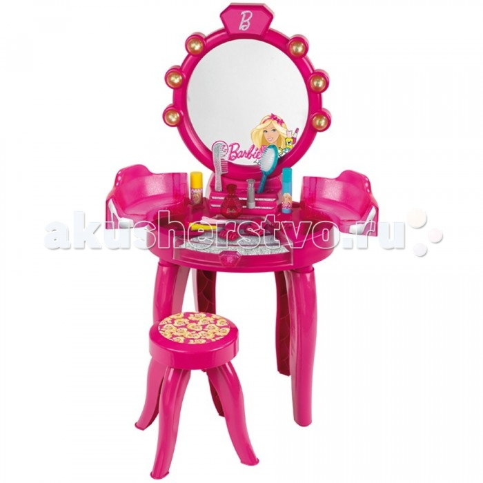 Klein Игровой набор 5320Игровой набор 5320Klein Игровой набор 5320 – это высокое трюмо на ножках размером в 90 сантиметров, сидя у которого девочка может создавать новые образы, пользуясь многочисленными аксессуарами из набора.   В комплект входят: само трюмо с зеркалом, раздвижными секциями и открывающимся ящиком, табуретка, расческа, массажная щетка, 3 парфюмерных флакона, три заколки типа «крабик» и три заколки «крокоил».  Размеры трюмо: 90х41х28 сантиметров.<br>