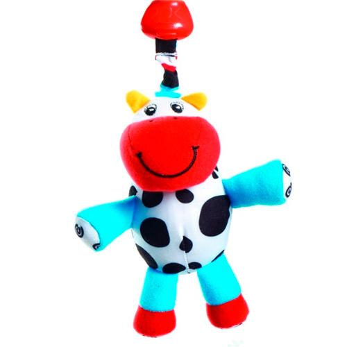 Подвесная игрушка Tiny Love погремушка теленок Кузя 427погремушка теленок Кузя 427Игрушка имеет удобный держатель-клипсу для подвешивания на дуги коврика, в коляску или кроватку малыша.  Клипса и подвеска соединены вибрирующей веревочкой: если малыш притягивает игрушку к себе, веревочка растягивается и затем сокращается, заставляя игрушку вибрировать  Внутри спрятана погремушка-бубенчик Размер игрушки: 22х13х10 см<br>
