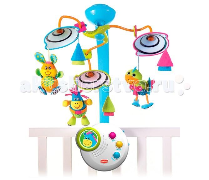 Мобиль Tiny Love классический 2 поколениеклассический 2 поколениеМобиль Классический 2 поколение для новорожденных, с успокаивающим ночным светом, с черными и белыми спиралями, время звучания классической музыки – 20 минут.  Игрушка поощряет любопытство малютки-исследователя. Классические произведения способствуют когнитивному и эмоциональному развитию малыша.   Уникальные движения игрушек мобиля развивают зрительную координацию. Множество мелких деталей у игрушек и разнофактурный материал способствуют развитию мелкой моторики пальчиков рук и тактильных ощущений у малыша. 3 классических мелодий общей продолжительностью 20 минут (Бах, Моцарт или звуки живой природы) Материал: высококачественная пластмасса. Батарейки для музыкального блока - 3хС.  Режимы: (всего 7) 1. включено: вращение под нежную музыку Баха, Моцарта или звуки живой природы - до 20 минут проигрывания мелодии.  2. беззвучное вращение игрушек (без ночника, музыки) 3. вращение игрушек только под музыку 4. вращение игрушку только под свет ночника 5. использование только освещения 6. проигрывание только мелодий 7. музыка+ночник без вращения.  Вес: 1,895 кг Размер упаковки: 41 х 34 х 12 см<br>