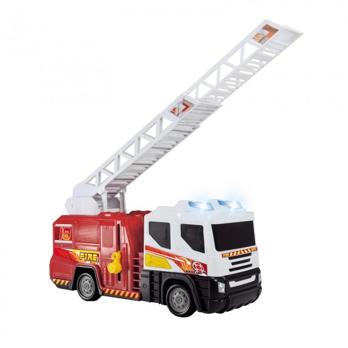 Dickie Пожарная машина со светом и звуком 30 смПожарная машина со светом и звуком 30 смDickie Пожарная машина со светом и звуком 30 см выполнена в традиционных для этого вида техники цветах: белая кабина и красный кузов.   Особенности: У игрушки есть лестница-вышка, которая поднимается и раздвигается, позволяя инсценировать работу настоящей бригады пожарников.  У машинки зажигаются сигнальные огни, расположенные на крыше кабины.  Пожарная машинка снабжена звуковыми эффектами.   Длина погрузчика: 30 см<br>