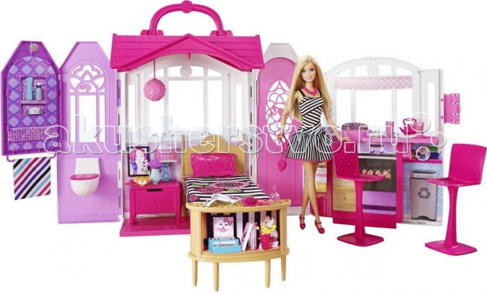 Barbie Переносной домик + Кукла