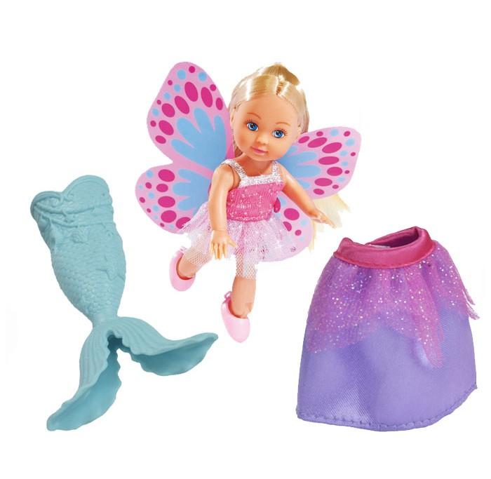 Simba Кукла Еви русалка 3в1 12 смКукла Еви русалка 3в1 12 смSimba Кукла Еви русалка 3в1 12 см, которая может стать может стать ожившей сказкой для любой девочки.  Особенности: Наличие в наборе таких интересных аксессуаров, как хвост русалки голубовато-серебристого цвета, а также ярких пёстрых крыльев позволит производить настоящие чудеса превращения.  Из маленькой милой принцессы кукла Еви превратится в загадочную русалку или фею, обитательницу волшебной страны.  С таким набором любая девочка сможет почувствовать себя настоящей волшебницей, продолжая верить в чудеса.      Высота куклы: 12 см<br>