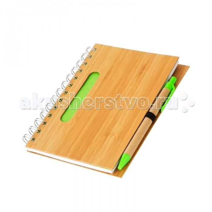 Lejoys Бизнес-блокнот Bamboo зеленый - бамбуковая обложка + шариковая ручка (70 листов)Бизнес-блокнот Bamboo зеленый - бамбуковая обложка + шариковая ручка (70 листов)Блокнот на спирали формата А5 удобно использовать для различных заметок дома, в офисе или на занятиях. Его плотная обложка из натурального бамбука не только украшает блокнот, но и надежно защищает записи. Спираль позволяет аккуратно перелистывать листочки и при необходимости вырывать их. Блокнот укомплектован ручкой в корпусе из переработанной крафт-бумаги. Блокнот и ручка украшены яркими зелеными вставками.  Такой блокнот будет приятным подарком для тех, кто ценит натуральные материалы.  Основные характеристики:  Размеры: 13 х 18 см Формат: А5 Количество листов: 70 шт.<br>