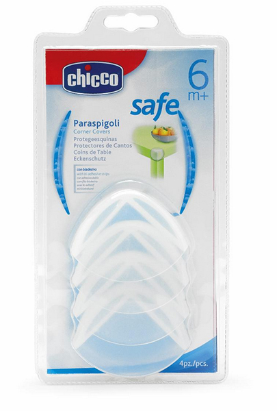Chicco Защита для углов 4 шт.Защита для углов 4 шт.Защитные накладки на углы Chicco предназначены для того, чтобы ребенок не поранился об острые углы мебели.   Накладки выполнены из мягкого нетоксичного пластика и крепятся к мебели при помощи прилагающейся двусторонней клейкой ленты.<br>