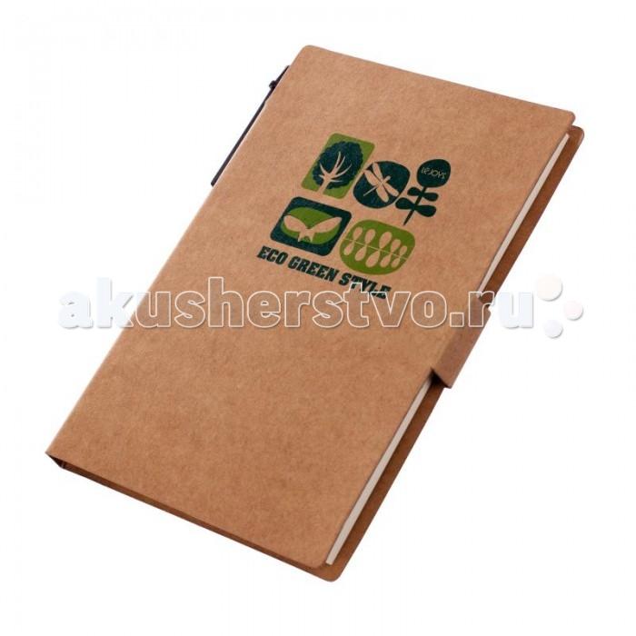 Lejoys Блокнот Tree для заметок с ручкой и закладками (50 листов)Блокнот Tree для заметок с ручкой и закладками (50 листов)Это не просто компактный блокнот, но еще и несколько комплектов разноцветных клейких стикеров разных размеров, которые помогут ничего не забыть и не перепутать. Кроме того, в комплект входит экоручка в корпусе из крафт-бумаги и отделочным элементами черного цвета. Комплект оформляет обложка из плотной крафт-бумаги натурального бежевого цвета с рисунком на экотемы с оригинальной застежкой.  Этот блокнот станет незаменимым помощником в зеленом офисе.  Основные характеристики:  Размеры: 10.7 х 15.5 см Формат: А5 Количество листов: 50 шт.<br>