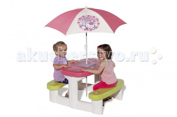 Smoby Столик для пикника с зонтиком Hello KittyСтолик для пикника с зонтиком Hello KittySmoby Столик для пикника с зонтиком Hello Kitty точно понравится вашей малышке.  Особенности: Столик и две скамеечки представляют собой единое целое.  На самом столике имеется настольная игра-бродилка с приключениями кошечки Китти, для игры прилагаются 2 игральных кубика и 2 фишки.  Столик можно установить как дома, так и на улице.  Чтобы защитить ваших детей от палящего солнца или мелкого дождика, в центр можно установить симпатичный тканевый зонтик с изображением Hello Kitty. Конструкция выполнена из упрочненной пластмассы, не выгорает и выдерживает мороз до - 18 градусов.  Размер стола: 74 x 80 x 47 см<br>