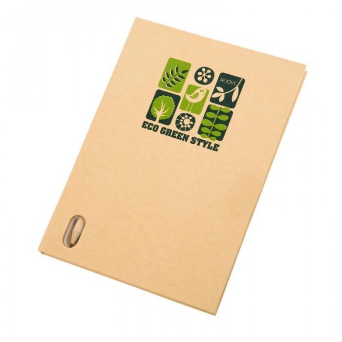 Lejoys Блокнот Tree в линейку с карандашом А5 (70 листов)Блокнот Tree в линейку с карандашом А5 (70 листов)Стильный аксессуар – наглядный пример того, как много могут сделать простые материалы в сочетании с креативным дизайном. Такой эффектный блокнот особенно понравится молодым и энергичным людям. Оригинальная обложка создана из переработанного бумажного сырья. Внутреннее вооружение блокнота – листы формата А5 в широкую линейку плюс аккуратный карандаш. Цветовая гамма блокнота – естественные бежевый и зеленый тона, которые подчеркивают экологичность материалов, из которых изготовлен данный аксессуар. Он великолепно впишется в идею зеленого офиса.  Основные характеристики:  Размеры: 14.8 х 21 см Формат: А5 Количество листов: 70 шт.<br>