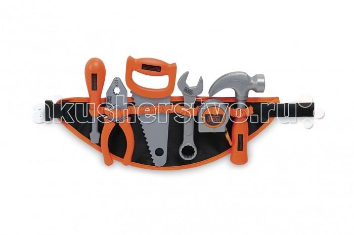 Smoby Набор инструментов B&amp;D на поясеНабор инструментов B&amp;D на поясеSmoby Набор инструментов B&D на поясе   Особенности: В набор игрушечных инструментов Black & Decker входят плоская отвертка, пассатижи, ножовка с крупными зубьями, рожково-накидной гаечный ключ, мерная лента-рулетка и молоток с гвоздодером.  Все инструменты изготовлены из высокопрочного качественного пластика и снабжены удобными рукоятками. Мерная лента находится в компактной коробочке. Чтобы произвести измерения, достаточно потянуть за колечко на конце ленты, а при необходимости сматывания нужно покрутить ручку на коробочке.  Набор включает в себя предметы, с помощью которых можно сыграть в столярные, слесарные и строительные работы.  Размер игрушки: 35 х 4 х 28 см<br>