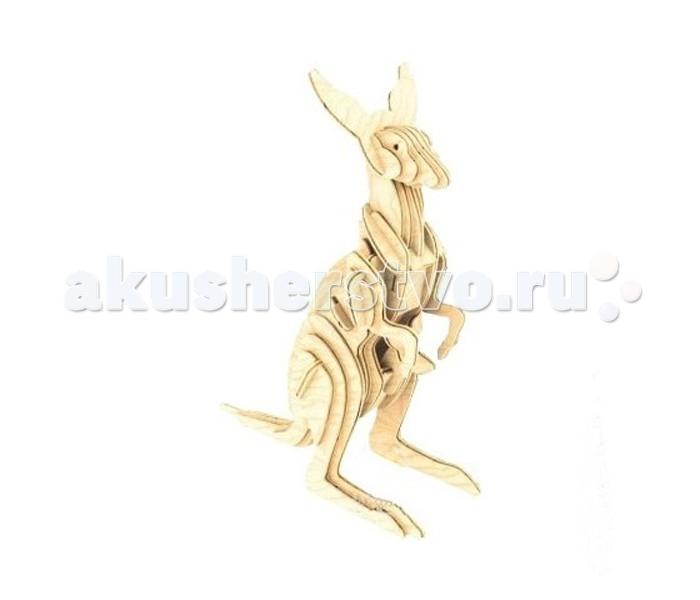 Конструктор МДИ КенгуруКенгуруМДИ Кенгуру М032                       Деревянная модель Кенгуру представляет собой миниатюрную фигурку австралийского сумчатого животного с поднятыми ушами, которое замерло на задних лапах. Оригинальная головоломка состоит из нескольких деталей фигурной формы, которые можно соединять между собой и без помощи клея. Готовое изделие можно разукрасить разноцветной краской, что сделает ее более интересной для рассматривания.<br>