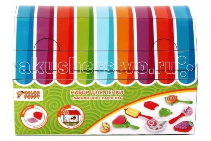 Color Puppy Набор для лепки Магазинчик сладостей, аксессуары 631030Набор для лепки Магазинчик сладостей, аксессуары 631030Color Puppy Набор для лепки Магазинчик сладостей, тесто 120 г, аксессуары.  Леденцы и мороженое сделать очень просто! Выложи тесто в формы с двух сторон и соедини их. Не забудь смешать разные цвета теста, чтобы получить цветное мороженое или леденцы!  Тесто для лепки имеет в составе пищевые ингредиенты: муку, соль, воду, пищевые красители. Безопасное для детей. Не прилипает к рукам, одежде, поверхностям. Очень мягкое и пластичное. Без ароматизаторов. Подходит для начинающих маленьких скульпторов.  Занятие лепкой способствует воспитанию усидчивости, развивает пространственное мышление, фантазию и мелкую моторику рук.  Комплектность: тесто 4 цвета по 30 г, формы - 4 шт., аксессуары - 5 шт.<br>