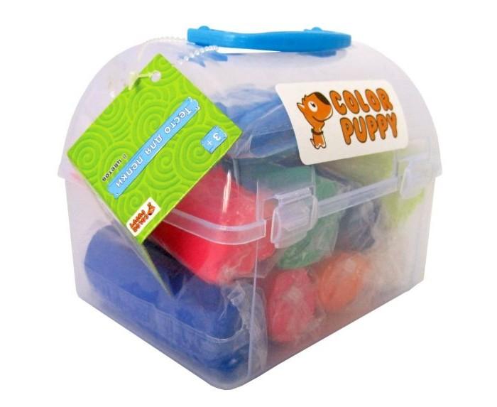 Color Puppy Тесто для лепки 635154Тесто для лепки 635154Color Puppy Тесто для лепки: 8 цветов, 1040 г, формочки, аксессуары   абсолютно безопасно для деток, потому что сделано на основе пищевых ингредиентов: муки, соли, воды, пищевых красителей. Лепя из теста, малыш не испачкает одежду и рабочее место, так как материал не прилипает к рукам и поверхностям. Тесто для лепки Color Puppy мягкое и пластичное. Без ароматизаторов. Подходит для начинающих маленьких скульпторов.  Занятие лепкой способствует воспитанию усидчивости, развивает пространственное мышление, фантазию и мелкую моторику рук. Известно, что дети с недостаточно развитой моторикой испытывают трудности в обучении: быстрее устает рука, не получается правильное написание букв. Занятия лепкой помогут избежать подобных проблем.<br>