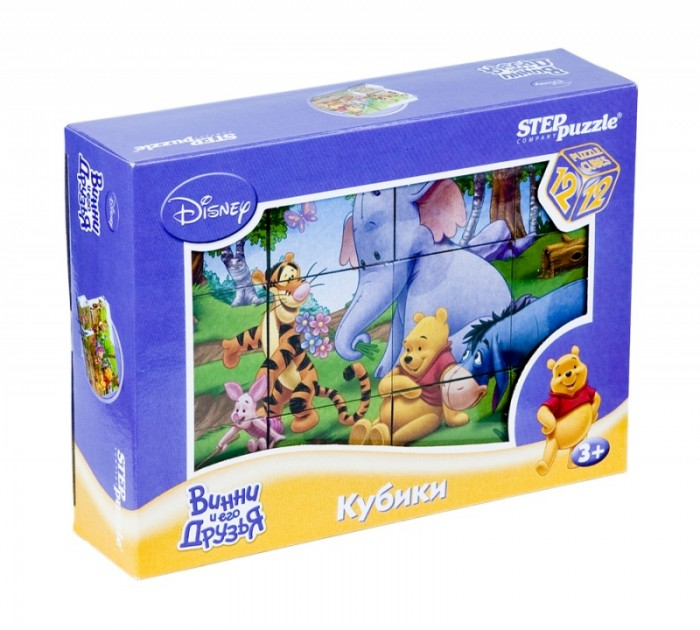 Развивающая игрушка Step Puzzle Набор кубиков Винни Пух 12 шт.Набор кубиков Винни Пух 12 шт.Step Puzzle Набор кубиков Винни Пух 12 шт.  Красочный набор кубиков с иллюстрациями к мультфильму про медвежонка Винни предназначен для развития логики и памяти у детей младшего возраста Из 12 кубиков можно составить 6 разных сюжетов из любимого мультфильма Все игрушки в наборе изготовлены из легкого прочного пластика Картинки сочные, наклеены на пластик крепко, хорошо держатся, рисунки глянцевые В каждой сцене изображены одни и те же персонажи, они очень яркие, выразительные и на иллюстрациях хорошо различимы разные времена года, что позволит ребенку закрепить знания по этой теме.  Возраст: от 1 года Комплект: 12 кубиков.<br>
