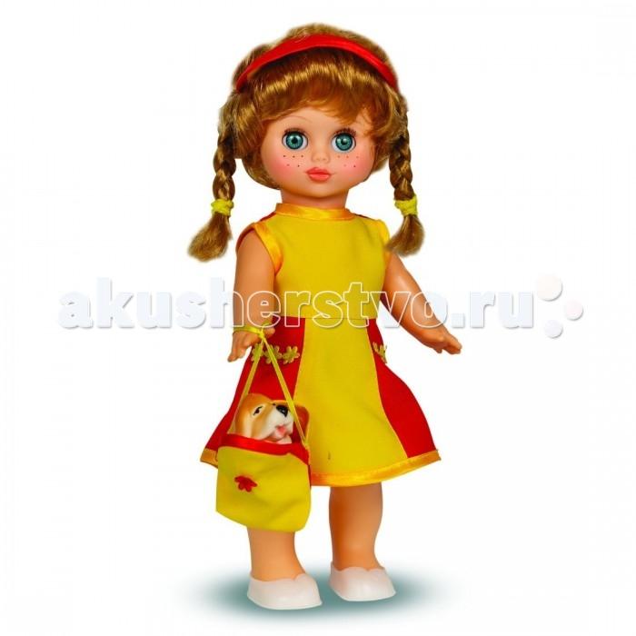 Весна Кукла Настя 5 озвученнаяКукла Настя 5 озвученнаяКукла Настя — малышка, принарядившаяся на летнюю прогулку. Глядя на нее, сразу хочется улыбнуться. Куколка одета в яркое платье без рукавов, декорированное кружевными элементами и блестящей лентой. На ногах у нее легкие сандалики. В руке девочка держит сумочку с собачкой, ее постоянной спутницей. Густые нейлоновые волосы заплетены в два хвостика и украшены повязкой.  У куклы поворачиваются ручки, ножки, голова. Положите ее на спинку — и она закроет глаза. Игрушка оснащена звуковым модулем и произносит несколько фраз на русском языке.<br>