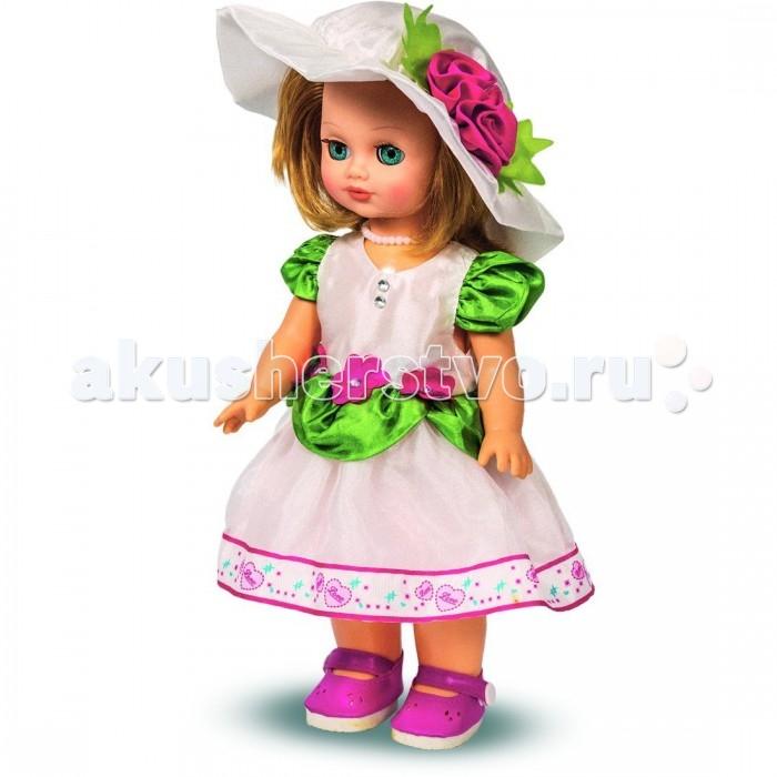 Весна Кукла Элла 16 озвученная 35 смКукла Элла 16 озвученная 35 смНарядная кукла Элла с длинными блестящими волосами, большими глазками с объемными ресницами, которые она может открывать и закрывать, если ее положить на спинку. Также куколка умеет говорить, она произносит от трех до десяти фраз!  Элла украшена перламутровыми бусами, у нее прелестное платье и шляпка с аппликацией цветов. Голова кукла поворачивается, ножки и ручки двигаются. Игрушка сделана из высококачественной пластмассы и винила<br>