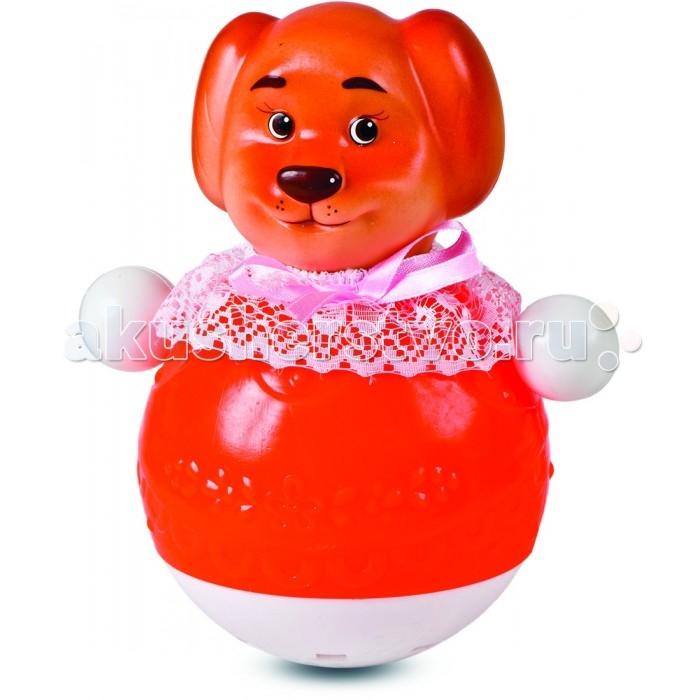 Развивающая игрушка Весна Кукла Неваляшка СобачкаКукла Неваляшка СобачкаНеваляшка от компании Весна круглое основание ярко-красного цвета, которое изготовлено из пластмассы. Верхняя часть игрушки выполнена в виде головы собаки. Неваляшка украшена белым кружевом и розовым бантиком, что делает игрушку милой.  Во время наклонов из стороны в сторону неваляшка издает звуки бубенчиков, что делает игру только веселей.<br>