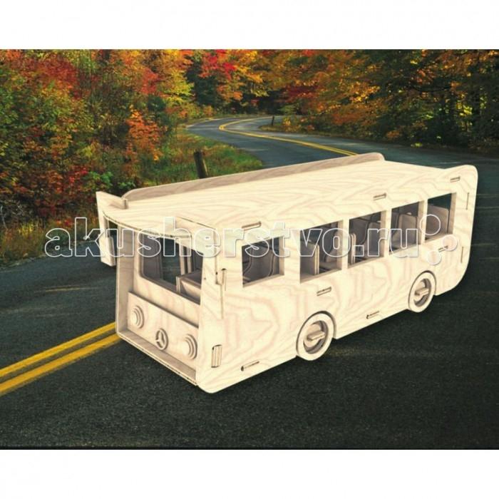 Конструктор МДИ АвтобусАвтобусМДИ Автобус П092                       Данная сборная деревянная модель выполнена в виде автобуса. В салоне имеются пассажирские места, место водителя. На бампере между фарами автобуса красуется логотип марки Mercedes-Benz. Предусмотрено зеркало заднего вида. Пазлы подобного типа понравятся как ребенку, так и взрослому человеку, так как их сборка является весьма приятным времяпровождением, а результат не оставит никого равнодушным. Модель можно покрасить, можно покрыть лаком, а можно оставить и без покрытия. Соединения для прочности можно укрепить клеем, который не входит в комплект.<br>