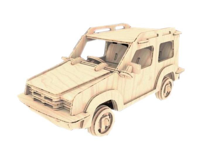 Конструктор МДИ ДжипДжипМДИ Джип П101                       Сборная деревянная модель Джип повторяет все особенности дизайна и пропорций настоящего автомобиля. Модель Джип получается объемной, хотя собирается из множества плоских деталей. Перед сборкой автомобиля детали следует выдавить из платы. У Джипа хорошо просматриваются кузов и салон, багажный отсек и капот, широкие колеса высокой посадки. Все пазы деталей хорошо подогнаны друг под друга. Игрушка развивает усидчивость и умение работать с мелкими предметами. Готовый Джип можно покрыть лаком или раскрасить (лак и краски не входят в комплект).<br>