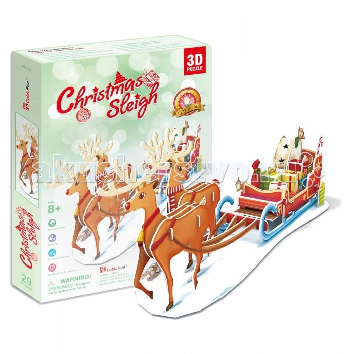Конструктор CubicFun 3D-пазл Рождественские сани (с подсветкой)3D-пазл Рождественские сани (с подсветкой)CubicFun 3D-пазл Рождественские сани (с подсветкой) позволит собрать картонную модель саней Санта-Клауса, наполненных подарками! Пазл собирается без клея и ножниц, нужно лишь соединить детали так, как это показано на картинке.  Уровень сложности - 4.  Функции<br>