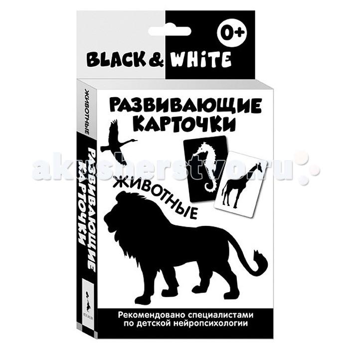 Росмэн Развивающие карточки Black &amp; White ЖивотныеРазвивающие карточки Black &amp; White ЖивотныеРазвивающие карточки. Black & White.Формы и фигуры.Невероятно полезная и стильная игрушка - прекрасное дополнение развивающей среды для вашего малыша.  Активное развитие зрительного восприятия и интеллекта с первых месяцев жизни. Для любящих родителей, которые ответственно и с удовольствием подходят к вопросу воспитания своего ребенка!  В каждом наборе 16 чёрно-белых карточек, а также вкладыш с инструкцией для родителей.  Разработаны при участии детских нейропсихологов. Оптимальные для детей раннего возраста контрастные изображения на черном или белом фоне. Одновременно тренируют остроту зрения и знакомят малыша с первыми понятиями окружающего мира. Очень плотный белый картон, скругленные уголки. В каждой карточке имеются специальные прорези для развешивания - над кроваткой, в манеже или у пеленального столика.  Играя с карточками, малыш не только тренирует зрительное восприятие, но и активно развивает мышление с первых недель жизни!<br>