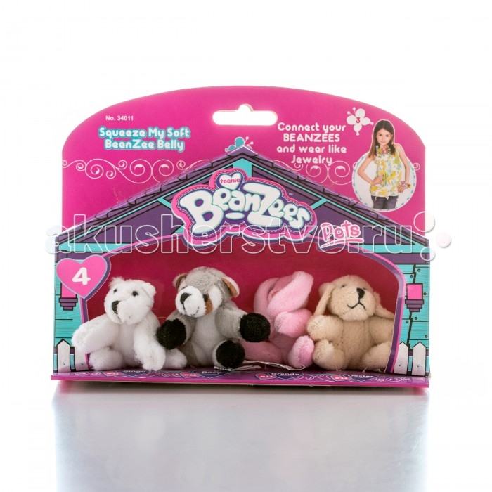Beanzeez Игровой набор Медведь, Енот, Кролик, ПесикИгровой набор Медведь, Енот, Кролик, ПесикBeanzeez Игровой набор Медведь, Енот, Кролик, Песик, включающий четыре миниатюрные мягкие игрушки в красочной упаковке в виде домика.  Особенности: Симпатичные крошечные плюшевые зверюшки Beanzees – это игрушки «три в одном». Их приятно держать в руках, увлекательно коллекционировать, а кроме того – их можно соединять между собой с помощью липучек и носить как оригинальное украшение на шею или на руку. По легенде эти крошечные животные обитают все вместе в волшебном лесу под названием Бинзилэнд, в котором всегда ярко светит солнышко и цветут растения. Размер игрушки не превышает 5 см, они выполнены из мягкого гипоаллергенного материала, набивка – синтетическое волокно, в том числе специальные пластмассовые гранулы, делающие эту игрушку замечательным антистрессом.  На лапках зверюшек располагаются маленькие текстильные липучки, с помощью которых игрушки можно соединять друг с другом. В линейке игрушек Бинзис более 20 разных персонажей! Вы можете собрать их все!<br>