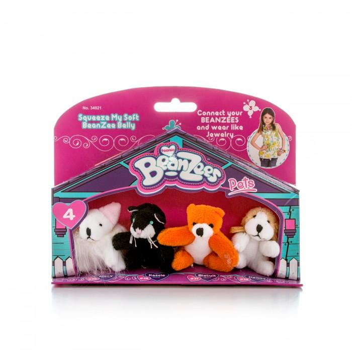 Beanzeez Игровой набор Мышка, Котик, Медведь, ПесикИгровой набор Мышка, Котик, Медведь, ПесикBeanzeez Игровой набор Мышка, Котик, Медведь, Песик, включающий четыре миниатюрные мягкие игрушки в красочной упаковке в виде домика.  Особенности: Симпатичные крошечные плюшевые зверюшки Beanzees – это игрушки «три в одном». Их приятно держать в руках, увлекательно коллекционировать, а кроме того – их можно соединять между собой с помощью липучек и носить как оригинальное украшение на шею или на руку. По легенде эти крошечные животные обитают все вместе в волшебном лесу под названием Бинзилэнд, в котором всегда ярко светит солнышко и цветут растения. Размер игрушки не превышает 5 см, они выполнены из мягкого гипоаллергенного материала, набивка – синтетическое волокно, в том числе специальные пластмассовые гранулы, делающие эту игрушку замечательным антистрессом.  На лапках зверюшек располагаются маленькие текстильные липучки, с помощью которых игрушки можно соединять друг с другом. В линейке игрушек Бинзис более 20 разных персонажей! Вы можете собрать их все!<br>