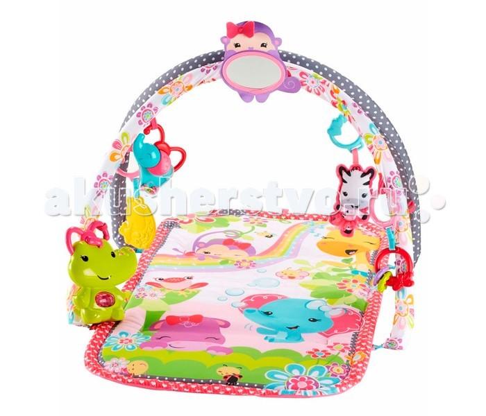 Развивающий коврик Fisher Price Mattel 3 в 1 Розовые джунглиMattel 3 в 1 Розовые джунглиМузыкальный развивающий коврик 3 в 1 Розовые джунгли порадует вашу малышку с первых дней жизни. Дуги с игрушками и безопасное зеркало помогут в развитии тактильного восприятия и навыков мелкой моторики. Музыкальный крокодильчик позабавит веселой мелодией.  Разглядывая себя в зеркале, малыш «разговаривает» с отражением, лепечет, осваивает смысловое значение произносимых звуков.   Малыш не теряет уверенности в собственной безопасности и при этом развлекается, слушая музыку и разглядывая, висящие над ним веселые красочные игрушки, которые словно приглашают достать себя, потрогать, схватить и подтянуть к себе поближе. Малыш, играя, тренирует кисти рук, их силу и ловкость.   Лежа на животике, малыш стремиться поднимать голову и плечи, чтобы видеть игрушки, картинки. Он хочет взять игрушку - и переносит вес тела на одну руку. Такая «тренировка» поможет ему быстрее научиться ползать. Все это позволяет стать нашему коврику «особенным» местом для ребенка.  10 минут музыки. Уровень 1: малыш играет лежа на спинке. Уровень 2: малыш играет лежа на животике. Уровень 3: малыш играет сидя.  Размер коврика: 78 х 45 см. Требуются 2 батарейки АА (в комплект не входят).<br>