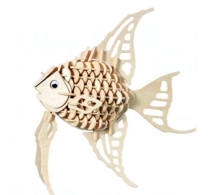 Конструктор МДИ Ангельская рыбкаАнгельская рыбкаМДИ Ангельская рыбка Ш010                       Лучший способ обучить чему-то ребенка - это игровой. Сборная деревянная модель Ангельская рыбка, обещает стать увлекательным занятием для малыша и обучит его концентрации внимания и разовьет творческие способности. Рыбку можно раскрасить красками и покрыть лаком, что сделает ее более похожей на живую, а малыш познакомится с обитательницей морей - рыбой-ангелом.<br>