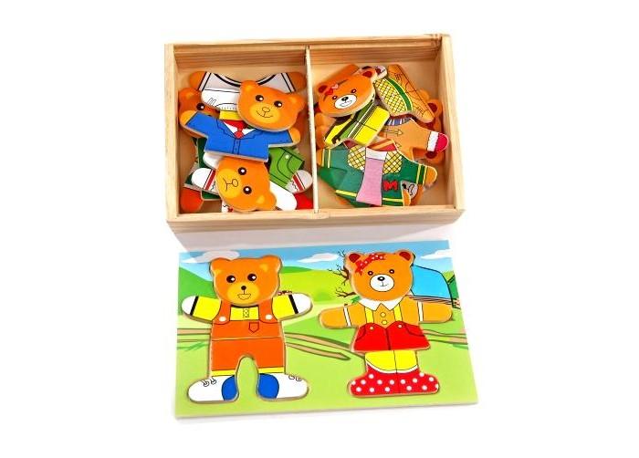 Деревянная игрушка МДИ Два медведяДва медведяМДИ Два медведя Д182  Эта рамка-вкладыш изготовлена из экологически чистого материала - дерева. В деревянной коробочке находятся детали, из которых ребенку предстоит собрать фигурки двух медведей. Каждая из фигурок состоит из трех частей - голова, туловище и ноги. Малыш сможет подобрать мишкам разную одежду и изменить выражение их мордочек. Такое увлекательное занятие поможет развить мелкую моторику, воображение и пространственное мышление.<br>